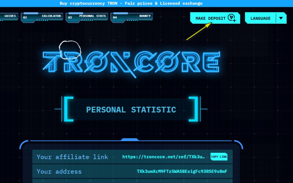 troncore deposit 1024x641 - [SCAM - DỪNG ĐẦU TƯ] Troncore: Dự án Smart Contract từ quản trị viên uy tín, lợi nhuận từ 1% mỗi ngày. SCAM or LEGIT?