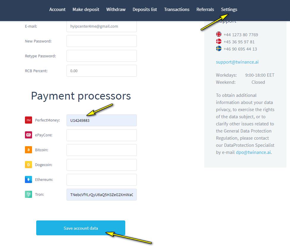 twinance add wallet - [SCAM - DỪNG ĐẦU TƯ] Twinance: Dự án cho vay P2P, nhận 10%/ ngày. Hoàn trả 3% tiền gửi + bảo hiểm 2,000$