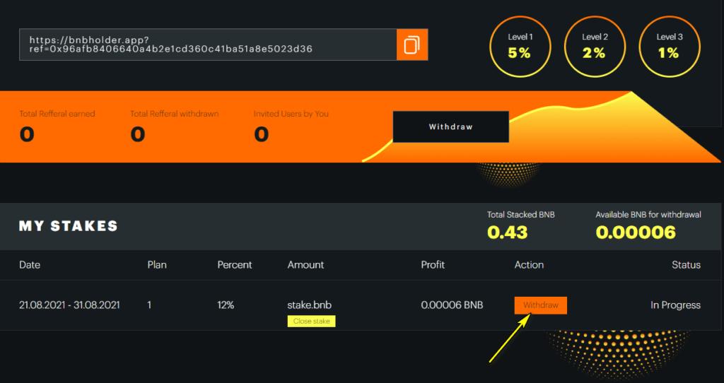 bnbholder withdraw 1024x542 - [STOP] BNB Holder: Dự án smart contract trên BSC, nhận tiền lên tới 12% mỗi ngày