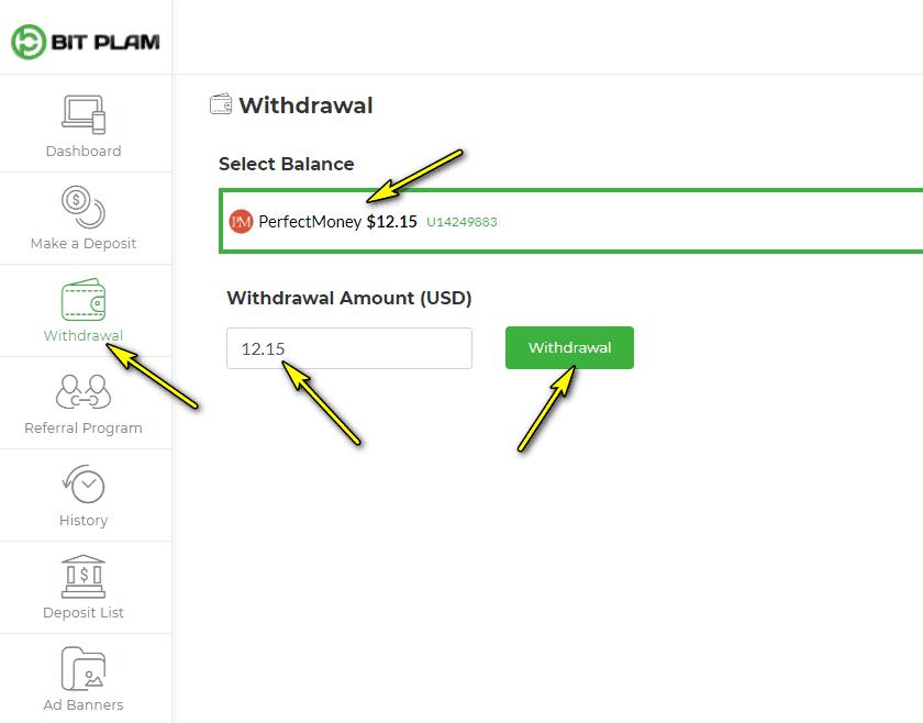 bit plam withdraw hyipcenter4me - BIT PLAM   Dự án từ admin huyền thoại - Lợi nhuận 4% mỗi ngày - Rút gốc bất kì - Bảo hiểm 2,200$