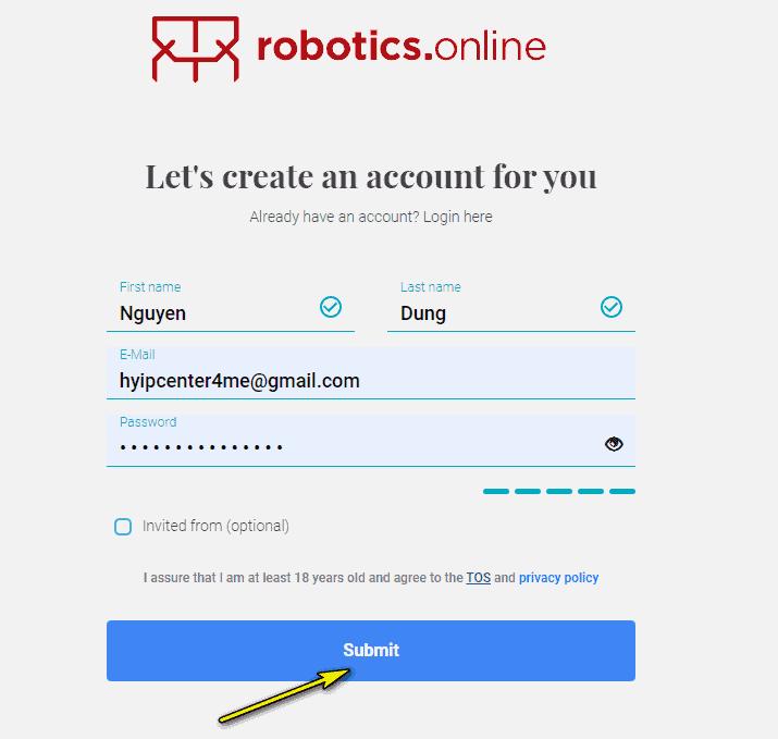 robotics dang ki hyipcenter4me - Robotics: Lợi nhuận lên tới 0.5%/ngày trong 12 ngày làm việc - Bảo hiểm 2,000$