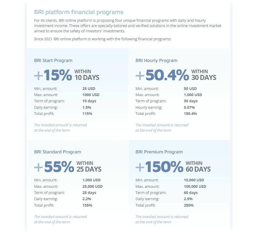 bri goi dau tu - BRI: Lợi nhuận lên tới 2.5%/ngày - Hoàn trả 130% hoa hồng - Bảo hiểm 2,000$