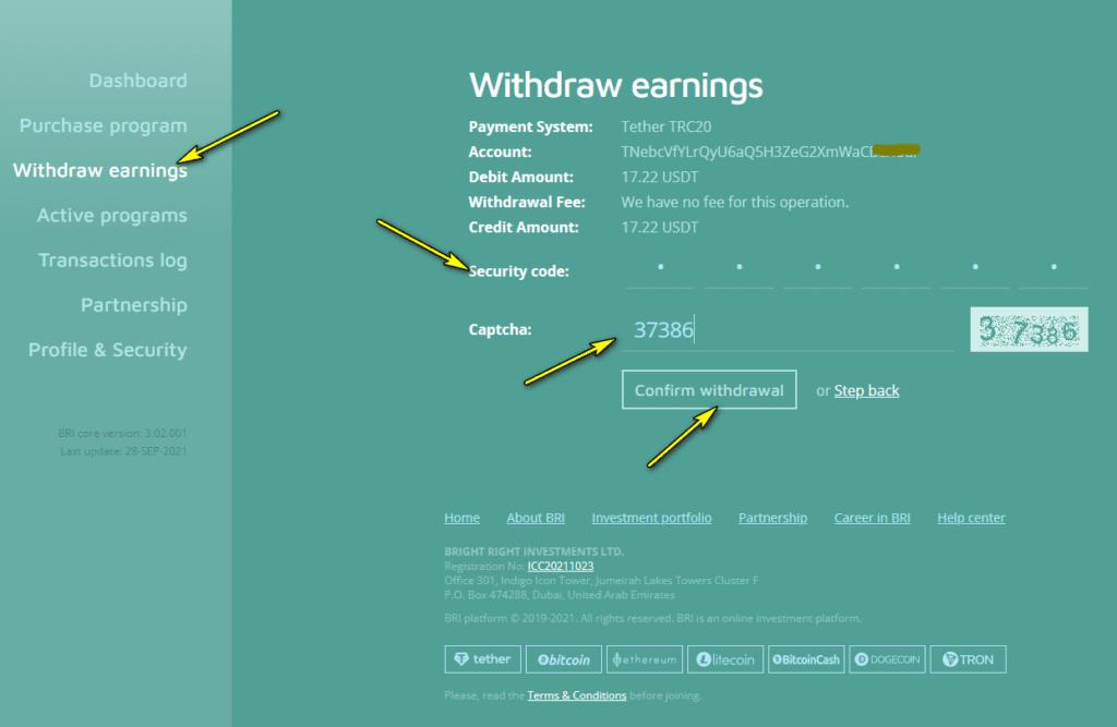 bri withdraw 1024x667 - BRI: Lợi nhuận lên tới 2.5%/ngày - Hoàn trả 130% hoa hồng - Bảo hiểm 2,000$